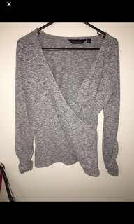 Dorothy Perkins Grey wrap knit top