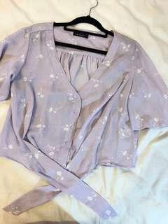Pastel Purple Cropped Flowy Top Size M (10)