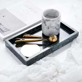 🚚 Large Green Marble Tray 28 cm x 16 cm x 2.7 cm