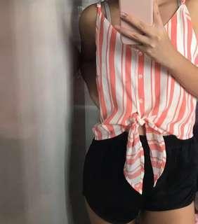 🚚 pink striped crop tank tee (bnwt)