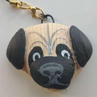 Dogface Pendant for Handbags/Phones - made of hand-painted Singapore seashells