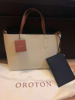 Oroton Liberty Mini Tote Bag Cream