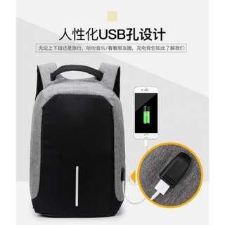 GREY ANTI THEFT BAG BACKPACK