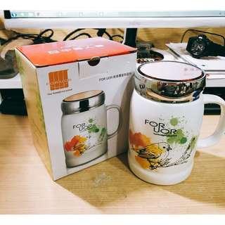 🚚 中國人壽股東紀念品 FORUOR春漾覆蓋陶瓷杯