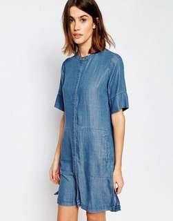 Warehouse Grandad Collar Denim Shirt Dress