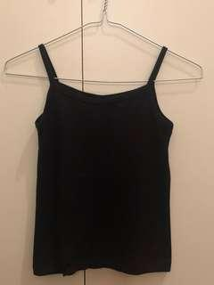 Black Ribbed Crop Singlet