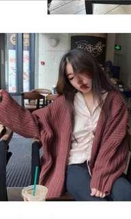 出清 簡約oversize寬鬆造型短版針織外套 /罩衫