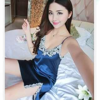 bc44d466ad  Ready sg stock  High quality satin silk smooth blue lingerie dress nightgown  sleepwear