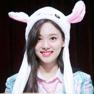 Tiktok Funny Plush Animal Rabbit Ear Hat Bunny Cap with Airbag Jumping Ear Movable Gift Have LED Light With 3 Different Speed Mode!