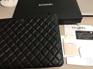 Chanel clutch 黑色 牛皮 魚子醬