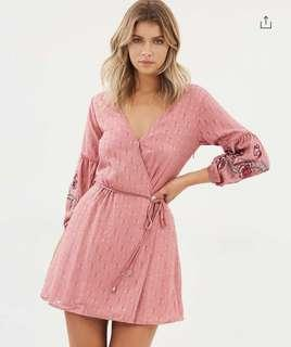 Embroided Wrap Dress in Dusty Pink
