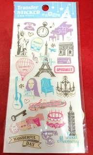 『免費索取』轉印貼紙 自由女神 蒙娜麗莎的微笑 鋼琴 101大樓