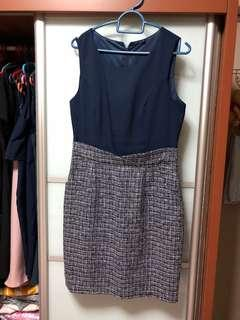 🚚 Tweed Contrast Pocket Work Dress in Navy
