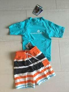 🚚 NWT Snapper Rock Rashguard and Swim Shorts