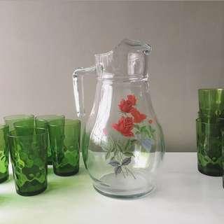 """Vintage Glass Jug/ Pitcher with Red Rose/ """"June Rose"""" Motif"""