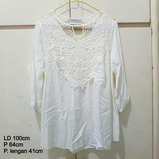 White Brocade Top