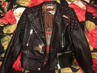 Coach leather biker jacket黑色皮衣皮褸
