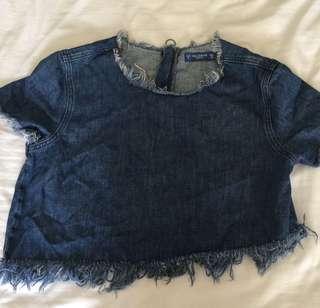 Pull and bear crop denim shirt