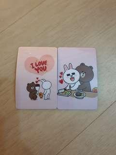 Line Bear Ezlink Card Stickers