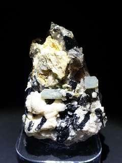 Combination of Smoky Quartz, Albite and Black Tourmaline and Aquamarine Crystal from Pakistan