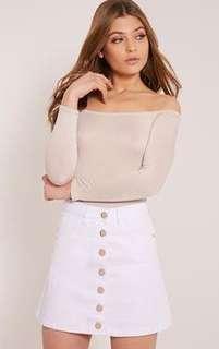 White Button Up Aline Skirt