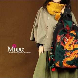 Chinese style national wind retro embroidery bag shoulder bag travel bag dragon bag canvas bag backpack Shengshi prosperous