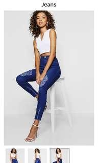 Distressed high waist jeans
