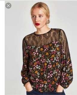ZARA Basic Lace Floral Top