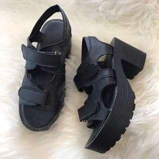 Chunky Heels with Velcro Strap