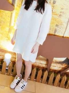 🚚 長版白色毛衣