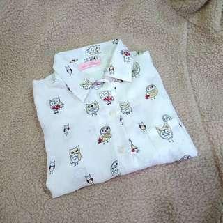 🚚 貓頭鷹雪紡襯衫