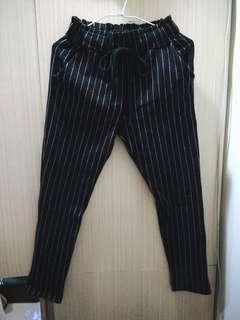 🚚 直條紋綁帶哈倫褲