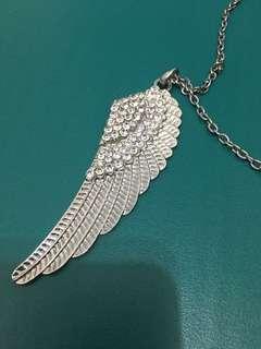 🚚 天使的羽翼 羽毛亮鑽造型長項鏈