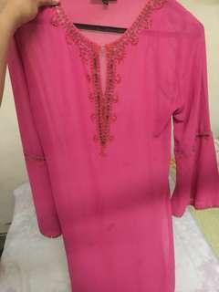 Baju Kurung Moden/ riau pre❤️ pink
