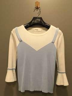 White/Blue 3 Quarter Sleeve Top