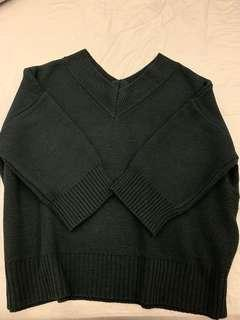 🚚 正韓V領厚磅黑色寬鬆毛衣