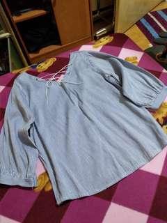 可換物  V領 直條紋顯瘦上衣