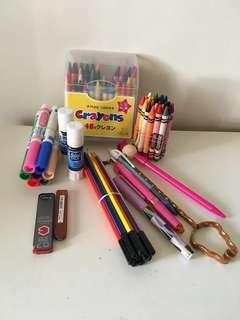 Crayons, chunky pens for toodlers