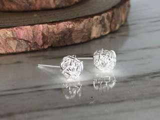 Silver 925 hand made wire beads stud earrings