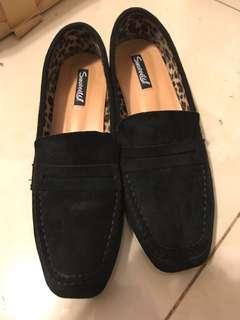 黑色 平底鞋 懶佬鞋 麂皮