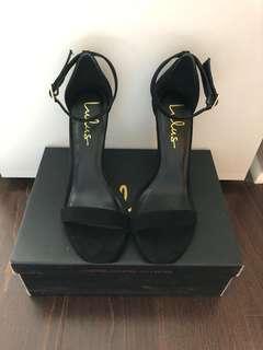 Lulus Black suede ankle strap heels