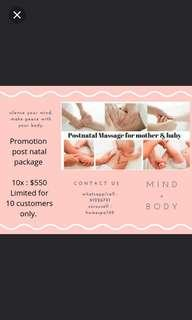 Promotion Post Natal Massage and Treatment
