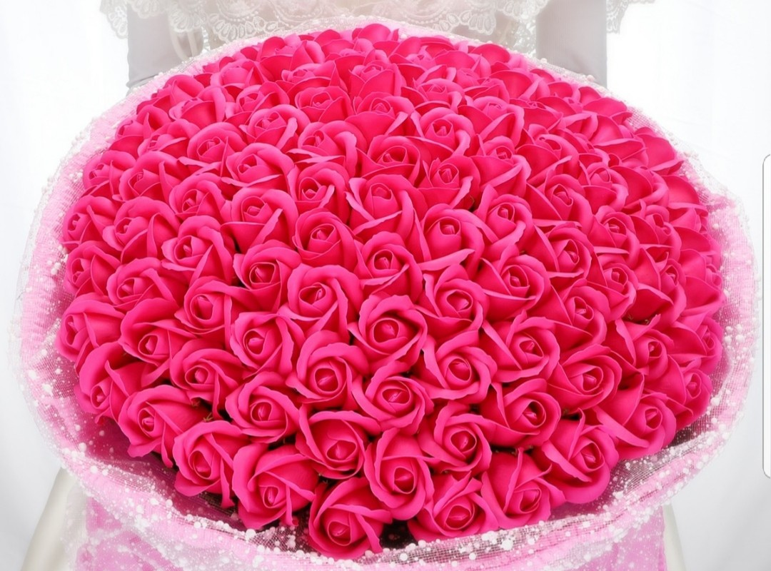 99 Pink Soap Roses Bouquet