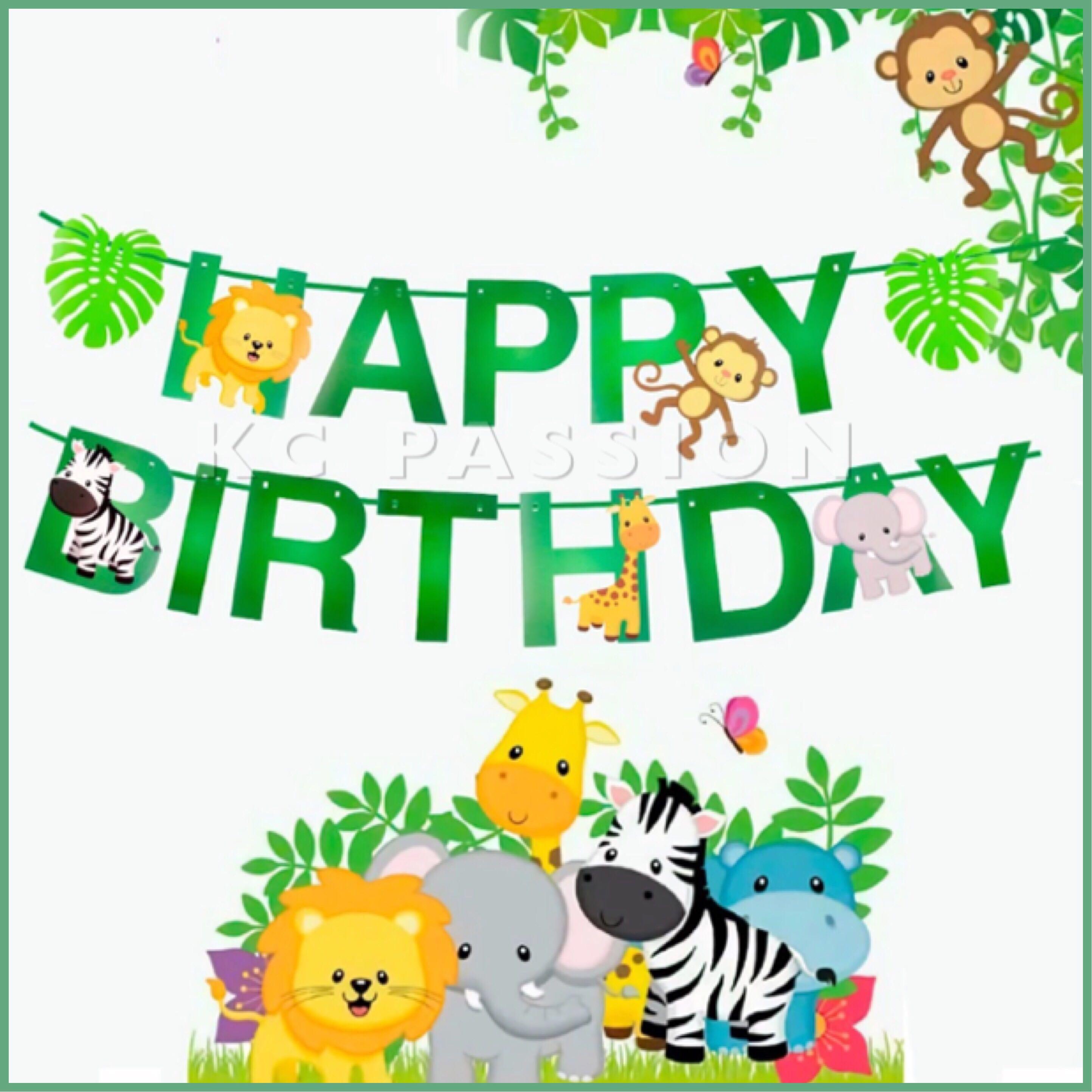 d0048234a 🎉 JUNGLE • ANIMAL • ZOO • SAFARI THEME BIRTHDAY Banner • Flag ...