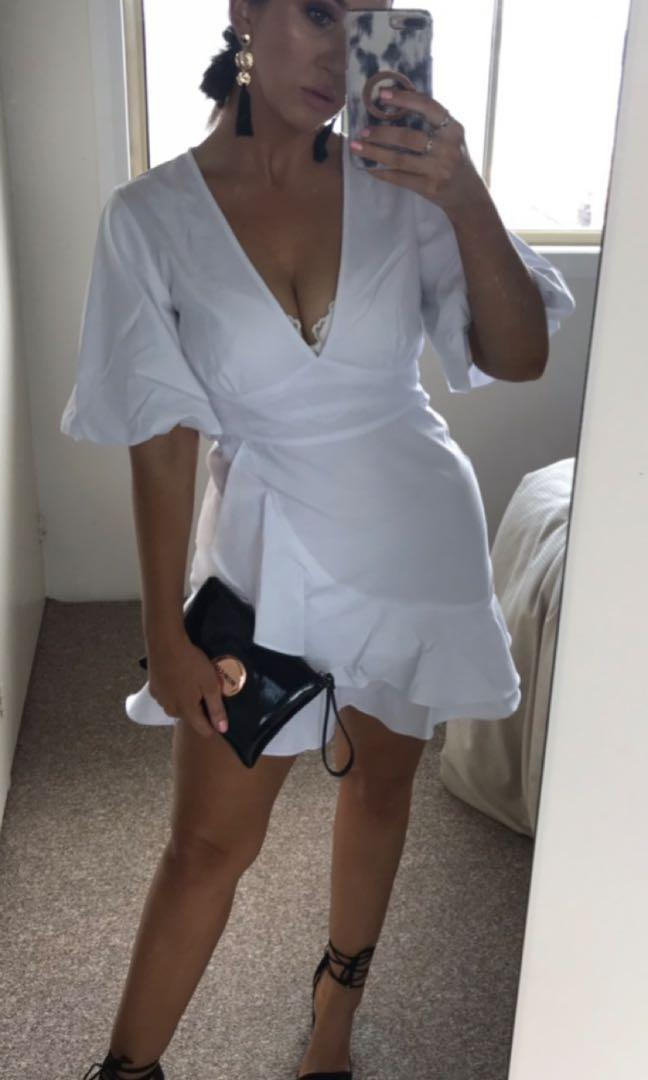 ATMOS & HERE white dress with wrap detail and sleeves
