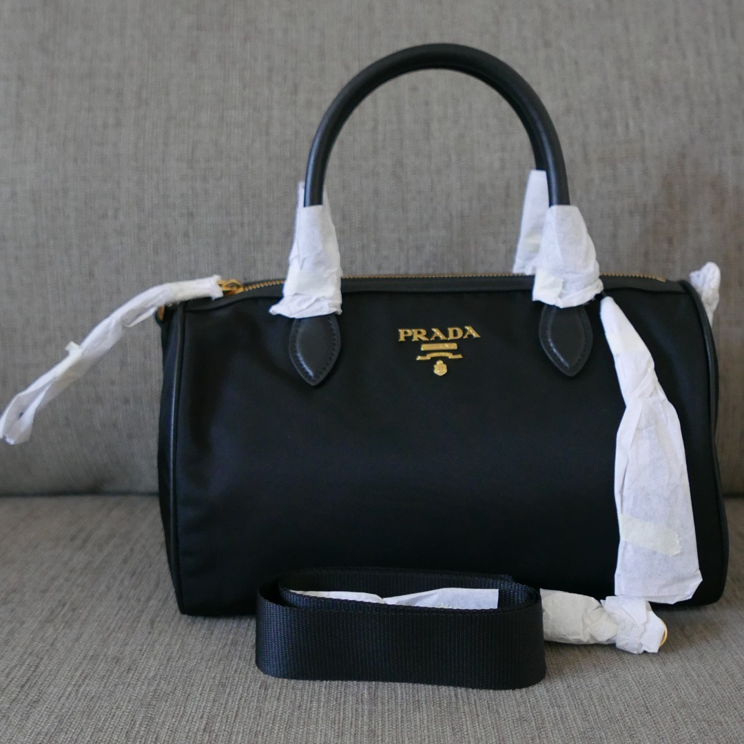 11a8d8bb31a83 Authentic Prada Tessuto Soft Calf Leather Nylon 2Way Bag 1BB797 Nero Black