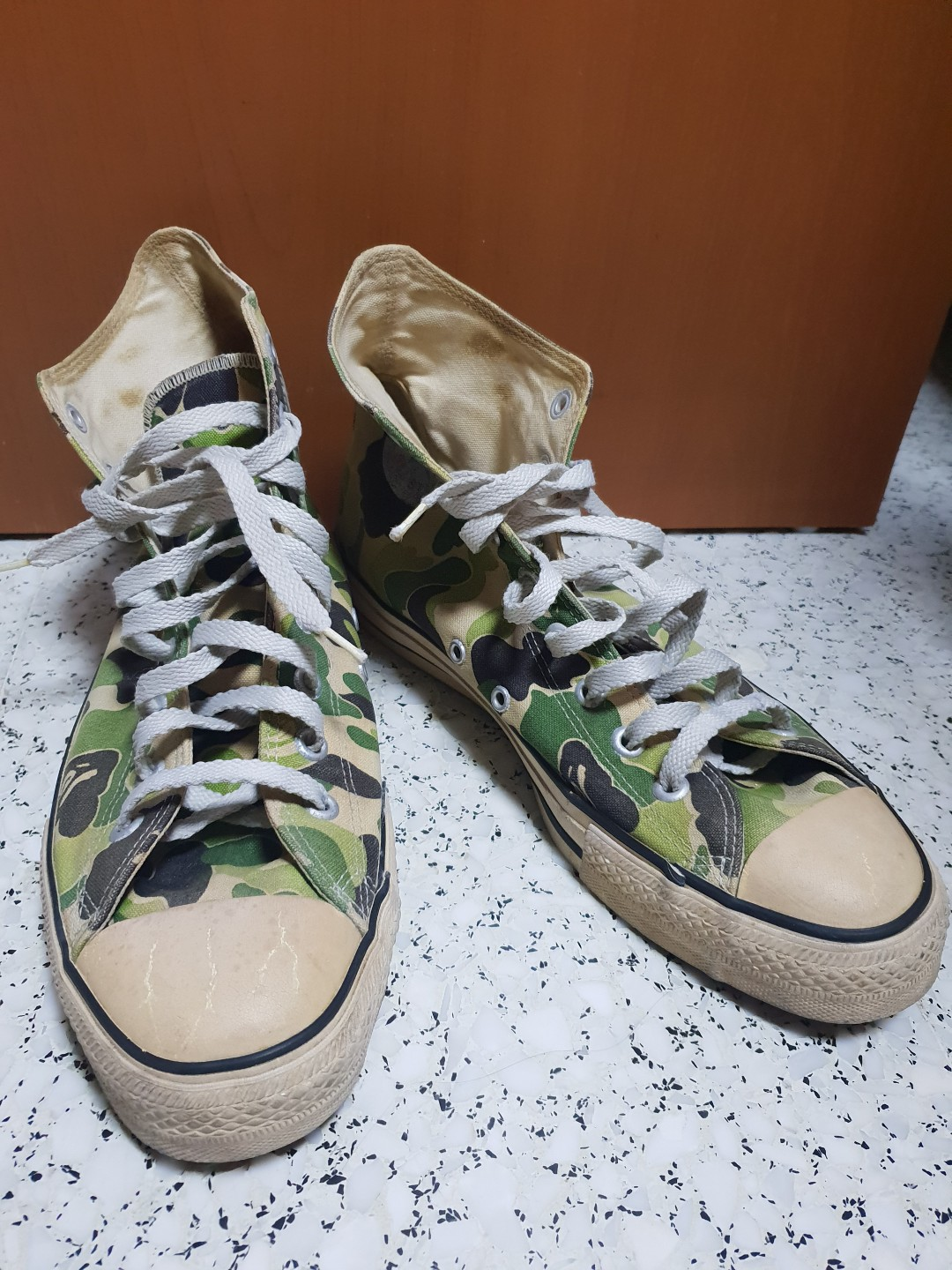 7ca47a45322979 BAPE A BATHING APE ALL STAR CONVERSE GREEN CAMO CAMOUFLAGE HI TOP ...