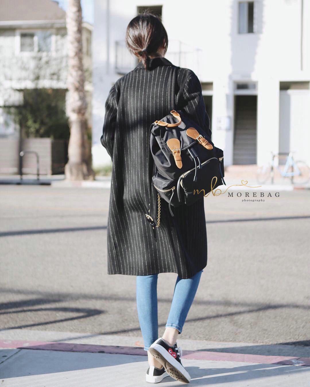 Black drawstring back pack - Burberry backpack lookalike
