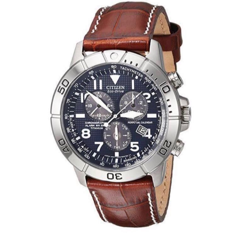 3618be47538b6a Citizen Men's Titanium Eco-Drive Watch with Leather Band, Men's ...