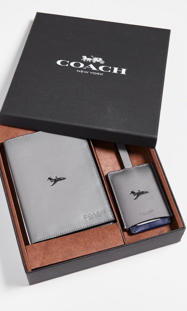 35f0fa24fddb Coach Heather Grey Passport Holder   Luggage Tag (Sale)